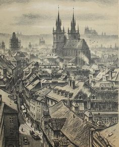 Viktor Stretti Czech Vintage Cityscape