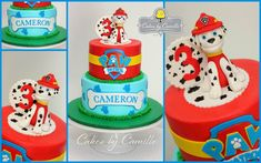 Paw Patrol Birthday Cake, with fondant Marshall topper, Cakes by Camille, LLC (Paw Patrol Cake Girly) Paw Patrol Birthday Cake, Paw Patrol Cake, Paw Patrol Party, Themed Birthday Cakes, 4th Birthday Parties, Fourth Birthday, Baby Birthday, Birthday Ideas, Escudo Paw Patrol