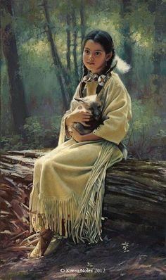 """Safe Haven"" 23"" x 14"" Original Oil -Western and Native American Fine Art by Karen Noles"
