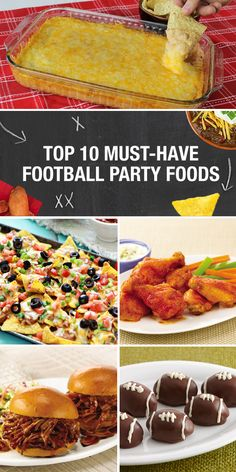 No football party is complete without a spread of delicious game day recipes. Easy Chicken Wings, Texas Trash Dip, Ultimate Nachos, quick and easy chili and Pulled Pork Sliders are just a few of our best recipes. Click through to explore our full top ten list of football party foods.