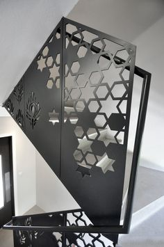Unique laser cut balustrade, which combines the asian motifs and street-art style that are now so ubiquitous in the  Shoreditch / Brick Lane area. Private residential development.  2013. www.designandweld.com