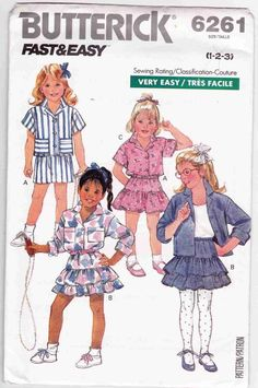 Cute 80s Girls Shirts and Ruffled Skirts Sewing Pattern Toddler's 1-2-3 Butterick 6261 - SewJewel - 1