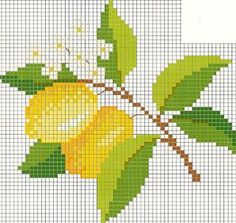 my lemon tree Cross Stitch Fruit, Cross Stitch Kitchen, Cross Stitch Tree, Cross Stitch Borders, Cross Stitch Flowers, Cross Stitch Designs, Cross Stitching, Cross Stitch Embroidery, Hand Embroidery