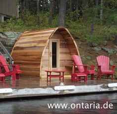 Cedar Pod Sauna W240xL180cm for 4 People If you are not willing to compromise in quality: Original Canadian Pod Sauna Package for 4 people, made from Western Red Cedar with rustic wood-burning heater. Assemble it and start to relax! E-and Infrared-heater available!