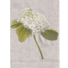 Anali's Hydrangea design is embroidered on oat linen guest towels.