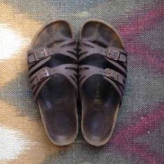 Birkenstock Granada two strap sandals Most signs of wear are shown in just the soles. These would better fit a 7.5 than an 8. Still have so much life left! The bottoms are in good condition and the straps look great still. Lower price on M Birkenstock Shoes Sandals