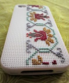 cross-stitched phone cover...so cute!