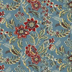 Windham Sophie by Mary Koval Blue with Red Jacobean Floral (hancocks-paducah)