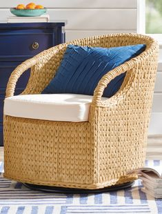 You can relax. That touch of easy-going coastal living you've been looking for is right here. Have a seat and take it for a spin. Note the intricate, artisan weaving throughout and the extra comfy, open design. Quickly make any room a tropical-inspired getaway.