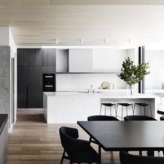 {Bonus Friday Feature post from Mim Design. This time it's actually a residential project - they carry on that clean-lined aesthetic on those too!} Informing the design was the requirement to. Eat In Kitchen, Kitchen Living, Kitchen Interior, Kitchen Decor, Kitchen Ideas, Mim Design, Cocinas Kitchen, Cuisines Design, Interiores Design