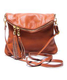 Loving this Cognac Fringe Leather Shoulder Bag on #zulily! #zulilyfinds