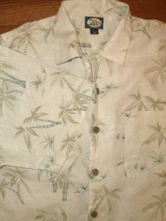 MENS LARGE TOMMY BAHAMA 100% linen HAWAIIAN SHIRT s/s PALM TREES gorgeous!