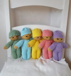 knitted baby doll in choice of 5 colours - in stitches. a cute little hand knitted baby doll in aa handmade knitted baby doll in lovely bright coloured romper and hat this little doll measures aprox 8 inches tall and comes in: yellow green blue pink Knitted Dolls Free, Knitted Doll Patterns, Baby Knitting Patterns, Crochet Dolls, Crochet Cats, Crochet Birds, Crochet Food, Crochet Animals, Knitting Designs