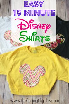 Show your Disney Side with these fun, quick and easy Disney Shirts. This craft is perfect for your next Walt Disney World Vacation, a Disney Side At Home Celebration or just because.