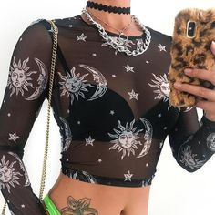Sweetown Moon And Galaxy Print Summer 2019 Mesh T-Shirt Women Long Sleeve Gothic Crop Top Knitted Slim Transparent Sexy Tshirts Crop Top Outfits, Edgy Outfits, Cute Outfits, Skirt Outfits, Mesh Tops, Mesh Crop Top, Alternative Mode, Alternative Fashion, Mesh T Shirt