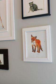 Love the navy/orange/grey color combo. Project Nursery - Watercolor Fox Print