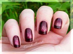 Burgundy French tip & glitter gradient