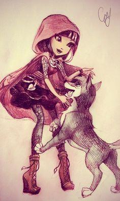 eah cerise wolf   Ever After High Cerise Hood