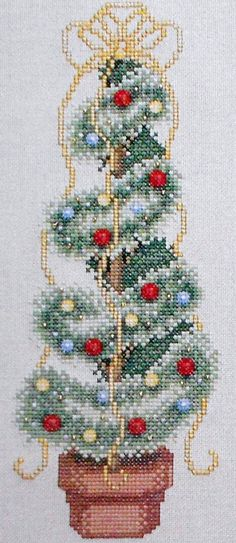 Angela Pullen WINTER TOPIARY TREE Plant Picture - Counted Cross Stitch Pattern Chart