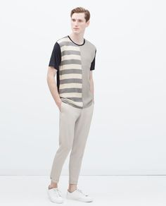 Image 1 of STRIPED T-SHIRT WITH SEAMS from Zara