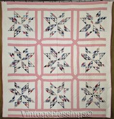 ANTIQUE c1880 Tiny Pieces! Pierced Stars QUILT Never Washed 81x77