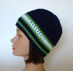 READY TO SHIP Seattle Seahawks Team Colors Striped Skater Beanie for Men  Women Teens - Priority 2a97a91eb
