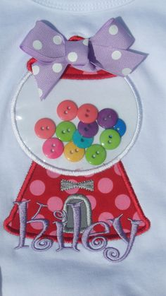 Sweet Shop Appliqued gumball / bubble gum machine with buttons Embroidery Applique, Cross Stitch Embroidery, Embroidery Patterns, Machine Embroidery, Bubble Gum Machine, Gumball Machine, Mother And Father, Creative Writing, Appliques