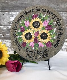 Personalized Wedding Garden Stone Gifts for Parents with ANY FLOWERS names, titles and dates! Retirement Gifts For Women, Wedding Gifts For Parents, Rustic Wedding, Wedding Ideas, Bride And Groom Gifts, Flower Names, Wedding Glasses, White Gift Boxes, Parent Gifts