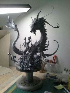 I want this fantasy statue thing Mythological Creatures, Fantasy Creatures, Mythical Creatures, Art Nouveau, Dragon Oriental, Illusion Kunst, Dragon's Lair, Dragon Pictures, Toy Art