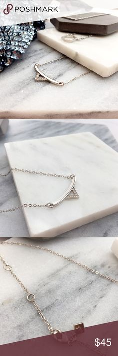 "Pave Triangle Bar Necklace Silver tone with pave triangle. 18"". New in pouch. 11071515 Rebecca Minkoff Jewelry Necklaces"