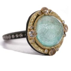 #Armenta Old World 18K Yellow #Gold #Sterling #Silver #Green #Turquoise & #Diamond #Ring