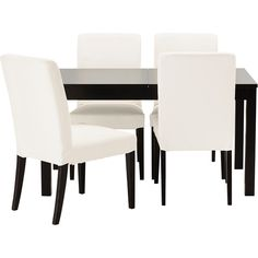 IKEA BJURSTA/ HENRIKSDAL Table and 4 chairs, brown-black, Gobo white ($475) ❤ liked on Polyvore featuring home, furniture, tables, dining tables, interior design, butterfly leaf dining table, adjustable dining table, black dining table, black extension dining table and white kitchen table