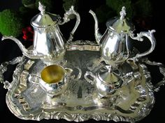 Vintage Silver Plate Tea Coffee Service Set by InventifDesigns
