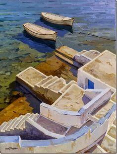Ciclades - Kiku Poch Catalan Oil on canvas, 73 x 54 cm. Klimt, Gravure Photo, Oil On Canvas, Mosaic, Photos, Boat, Landscape, Pouch, Paintings