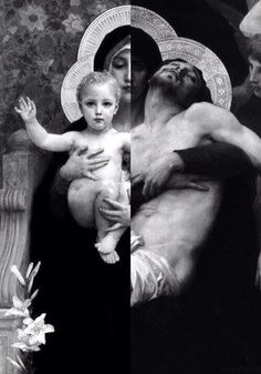 "They are two paintings fused in one of the Painter ""William-Adolphe Bouguereau"". The one of Christ of Child is called ""The Vierge au Lys (The Virgin of the Lilies)"" The one of Christ died on the cross is called ""Pieta"" Catholic Memes, Catholic Art, Religious Art, Blessed Mother Mary, Blessed Virgin Mary, La Pieta, William Adolphe Bouguereau, Religion Catolica, Queen Of Heaven"
