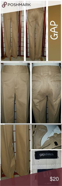 GAP Trousers! Great pair of trousers from Gap.  Tan.  Cuffed hem.   Hidden button and double hook/zip closure.  Have stretch.  Sz 1.  Waist 26in, rise 9in, inseam 31in.  Great condition.  No stains or tears.  From smoke free home. GAP Pants Trousers
