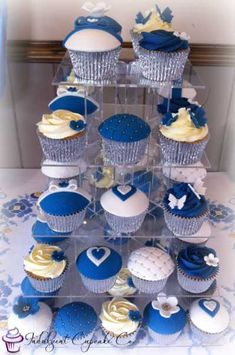 Royal Blue White and Silver Wedding Anniversary Cupcakes. White Silver Wedding, Blue White Weddings, Blue And Silver, Silver Anniversary, Wedding Anniversary, Diamonds And Denim Party, Anniversary Cupcakes, Diamond Party, Blue Cakes