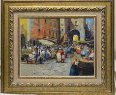 Guidotti Vintage Italian Market Oil Painting in Gold Antique Style Ornate Frame #Impressionism