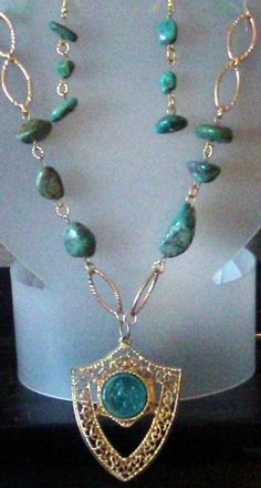 Turquoise and Gold Necklace   http://tophatter.com/auctions/17423