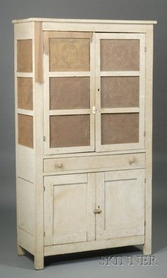 Painted Wood and Punched Tin Four-Door Pie Safe,
