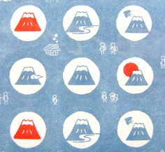 Mount Fuji Stickers Japanese Mountain (S187) Chiyogami Paper