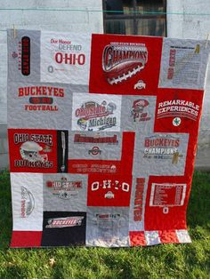 Ohio State old t-shirt quilt. Doing the same thing. Buckeyes Football, Ohio State Football, Ohio State University, Ohio State Buckeyes, Ohio State Crafts, Buckeye Crafts, Shirt Quilt, Quilting Tips, Crafty