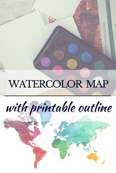 Fast and easy watercolor map! #watercolor #map #DIY