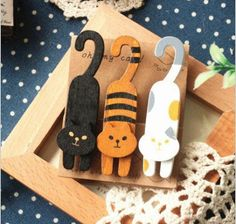 3 Piece Wooden Cat Chip Clip Set/Chip Clip/Bookmark/Journal