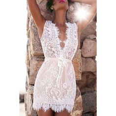 $14.83 Women's Stylish Lace Plunging Neck Sleeveless Dress