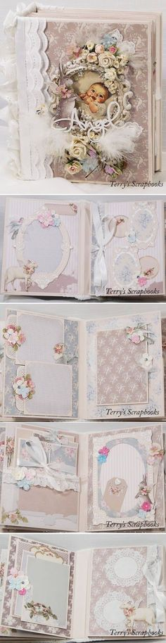 I created this mini album using Tilda All That Is Spring paper pad. I just love the bunnies and lambs with wings, they made me think of b. Mini Photo Albums, Mini Albums Scrap, Mini Scrapbook Albums, Baby Scrapbook, Scrapbook Cards, Scrapbooking Layouts, Scrapbooks, Baby Mini Album, Mini Album Tutorial