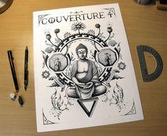 """Illustration """"Bouddha"""" - Dessin en cours de création - Isographe Rotring sur papier, 30 x 40 cm - Gaël Chapo (17.06.15)"""