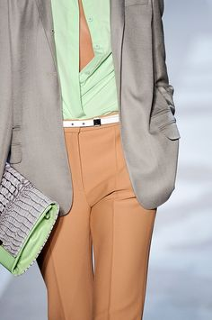 Tailored minty color blocking.     DVF Spring 2012 RTW