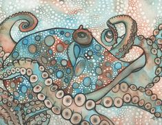 Octopus 8.5 x 11 print of detailed watercolour artwork from psychedelic sea dreams and teal turquoise marine oceans beach house cottage home