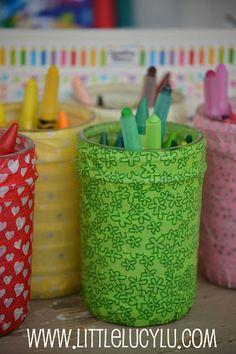 Washi tape mason jars- clever storage